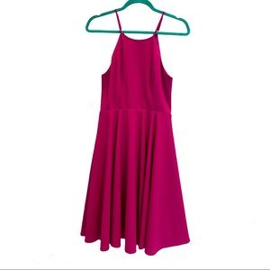 LULU'S M Fuchsia Hot Pink Halter Party Dress